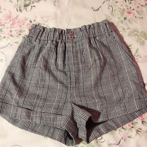 high wasted gingham shorts